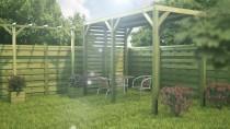 Gartenpavillon mit Pergola 5,6m² 370x180cm