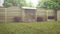 Brennholzregal mit Gitter 180x80cm