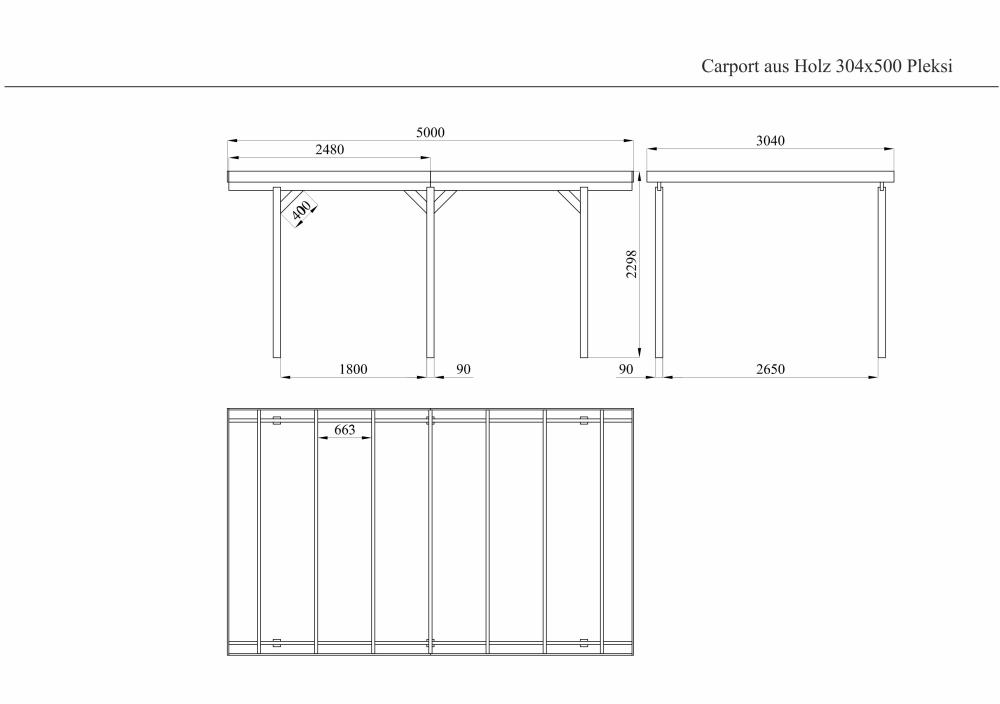 Carport Holz 9,8m² 304x500 PVC Dach Garage Unterstand Flachdach  Einzelcarport PKW Auto