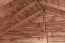 Gartenhaus mit Brennholzregal MASTER 2,9m² 259x213cm braun